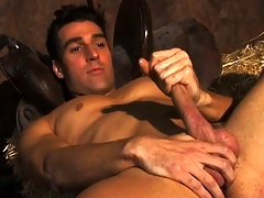 Horny unassuming farmboy Dylan plays with his massive rigid sausage