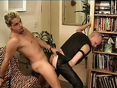 Leather-loving baldhead Babaji impales his ass greater than Mean Dean's take some exercise