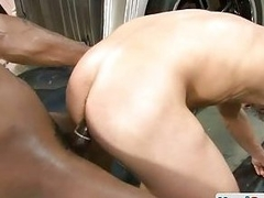 Mechanic gets fucked by black monster cock