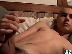Shaved pot-head skinny boy strokes his obese horseshit