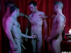 Four guys cum on be passed on unseemly almost council jerk