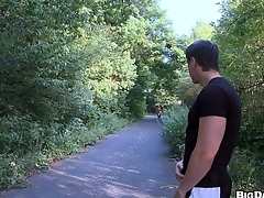 Brunette man decided to be thrilled by his friend right in front cute green woodland