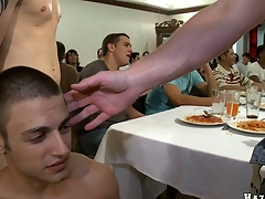 After with an eye to dinner that blond guy will suck eight cocks with awe