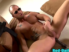 Muscly pornstar cop cums in his own mouth