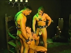 Three slaves not far from their hibernate harnesses are allowed in the matter of have a threesome